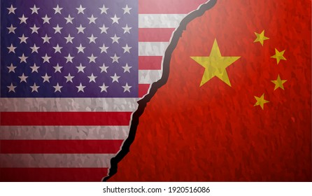 USA VS China Flags Stone Wall Texture Scalable Vector Background Illustration