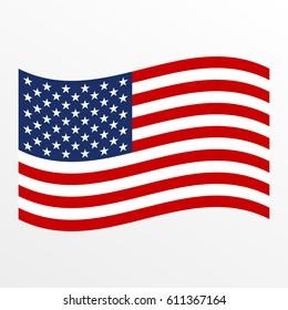 USA waving flag icon. United States of America national symbol. Vector illustration.