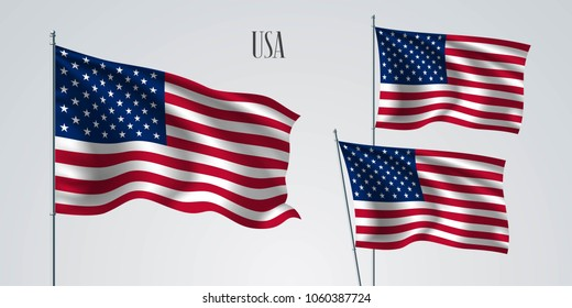 USA waving flag set of vector illustration. Stripes and stars of  American wavy realistic flag as a patriotic symbol