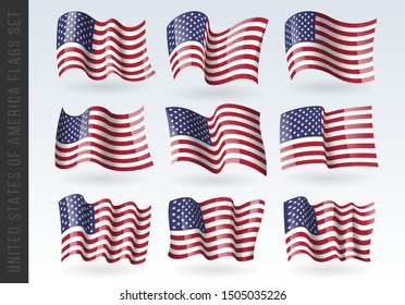 USA wavy flags Set. United States patriotic national symbol. Set of American flag. Icon. Print. Vector illustration. Isolated on white background.