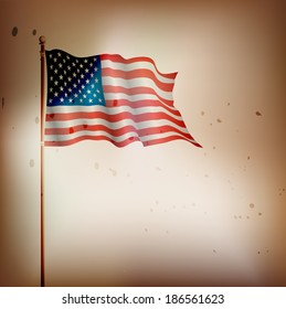 USA,American vintage flag waving