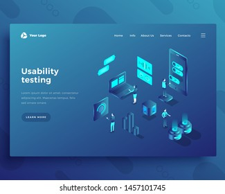 Usability testing office people characters and interact with computer and smartphone landing page or banner template. 3d isometric vector illustration.