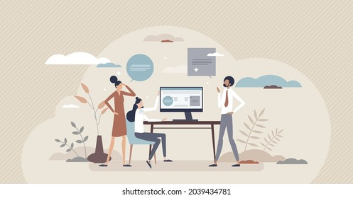Usability testing and responsive website app checking tiny person concept. New application programming and test from customer, user or client side for easy process optimization vector illustration.