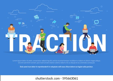 Usability traction concept illustration of young men and women using devices such as laptop, smartphone, tablets. Flat design of people addicted to gadgets sitting on the bid letters with social media