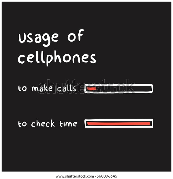 Usage Of Cellphones To Check Time and Make Calls (Funny Bar Graph Vector Illustration Concept)
