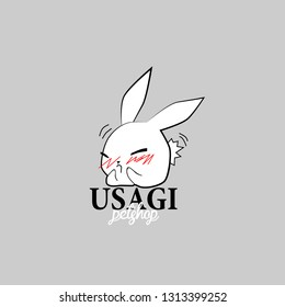 usagi petshop logo with rabbit or bunny illustration for petshop sign