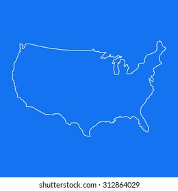 USA,United States of America outline map, stroke. Line style. White and blue. Vector EPS8