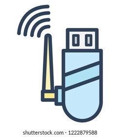 Usb adapter, usb internet  Isolated Vector Icon That can be easily edited in any size or modified.