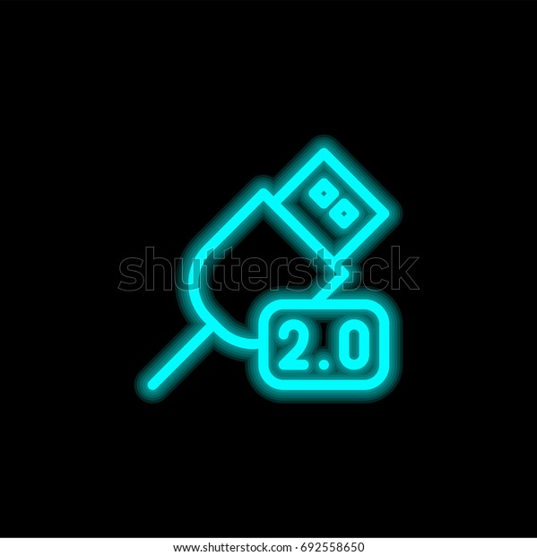 Usb blue glowing neon ui ux icon. Glowing sign logo vector