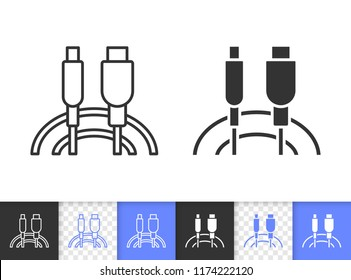 Usb Cable black linear and silhouette icons. Thin line sign of plug. Connector outline pictogram isolated on white, color, transparent background. Vector Icon shape. Usb Cable simple symbol closeup