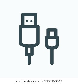 USB cable outline icon, usb data cable adapter vector icon