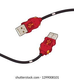 USB Cable Plug Red Cartoon Vector Illustration
