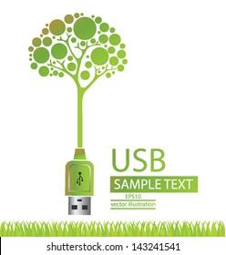 Usb cable. Tree design. Go green. Save world. vector illustration.