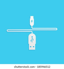 USB cable is white, isolated on a blue background for your design, vector illustration