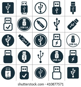 usb charging, flash drive icons set on white background