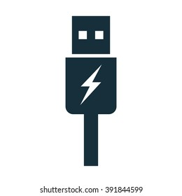 usb charging plug icon on white background