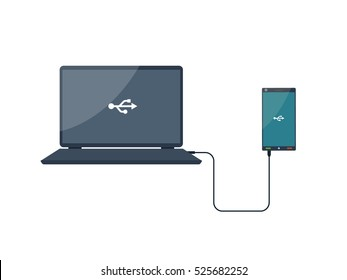 Usb connection. Computer, smartphone. Cable. Vector illustration. Laptop