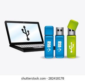 USB design over white background, vector illustration,