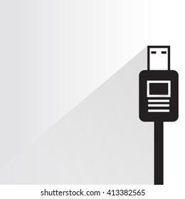usb, electronic device plug, computer plug on white background, flat and shadow theme
