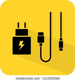 USB fast charger sign. Type A and OTG adaptor and cable. Flat 3D shadow design. yellow background black vector. product brand service label banner board display. App icon.