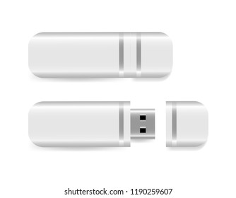 USB Flash Drive isolated on white background. Vector illustration