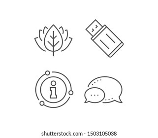 USB flash drive line icon. Chat bubble, info sign elements. Memory stick sign. Portable data storage symbol. Linear uSB flash outline icon. Information bubble. Vector