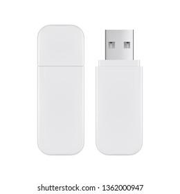 USB flash drive mockup isolated on white background. Vector illustration