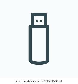 USB flash drive outline icon, memory flash storage data disk vector icon