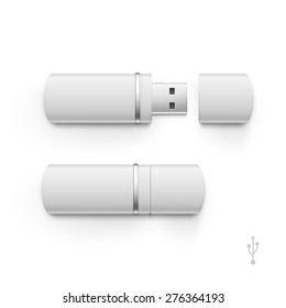 USB Flash Drive Stick Memory Vector Set Isolated on a White Background