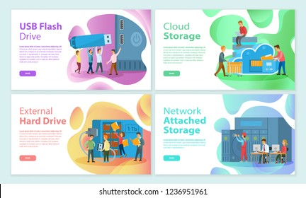 USB flash storage cloud, attached network memory posters set. People working on improving devices, media data store on hard drive disk of laptop pc