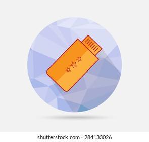 USB flat icon on geometric background