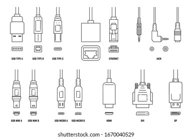 USB, HDMI, ethernet and other cable and port icon set isolated on white background. Line icons of connection plugs and sockets - flat vector illustration.