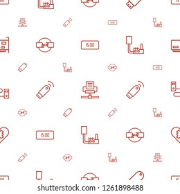 usb icons pattern seamless white background. Included editable outline digital clock, phone connection cable, flash drive, cable, usb signal icons. usb icons for web and mobile.
