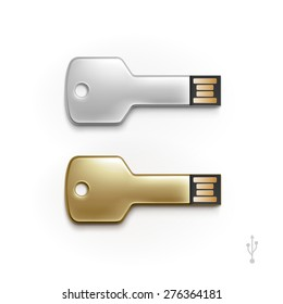 USB Key Flash Drive Stick Memory Vector Set Isolated on a White Background