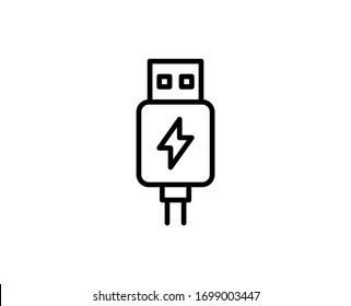 Usb line icon. Vector symbol in trendy flat style on white background. Web sing for design.