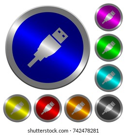USB plug icons on round luminous coin-like color steel buttons