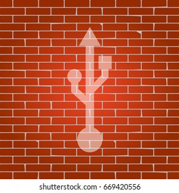 USB sign illustration. Vector. Whitish icon on brick wall as background.