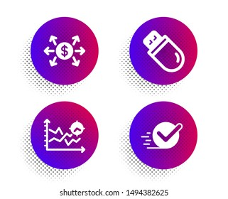 Usb stick, Dollar exchange and Seo analysis icons simple set. Halftone dots button. Checkbox sign. Memory flash, Payment, Targeting chart. Approved. Technology set. Classic flat usb stick icon. Vector