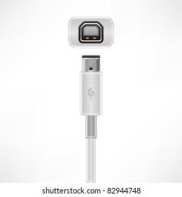 USB type B plug & socket