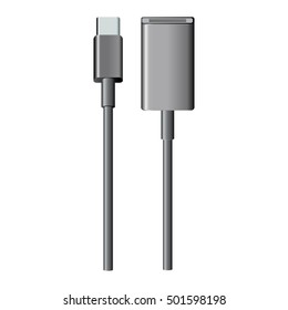 USB type-C cable to USB adapter