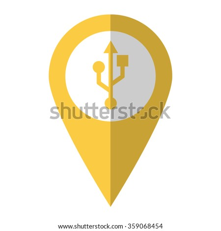 usb vector icon yellow map pointer stock vector royalty free