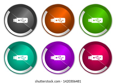 Usb vector icons. Chrome border round web buttons. Silver metallic pushbutton colorful set