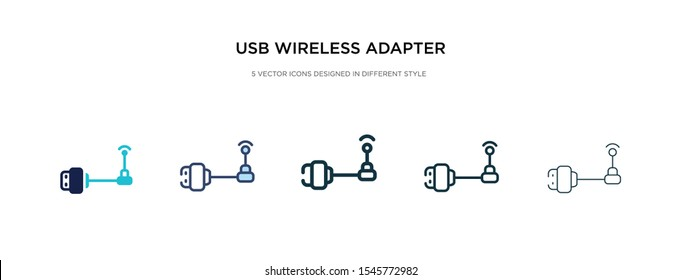 usb wireless adapter icon in different style vector illustration. two colored and black usb wireless adapter vector icons designed in filled, outline, line and stroke style can be used for web,