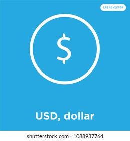 USD, dollar vector icon isolated on blue background, sign and symbol, usd, dollar vector iconic concept