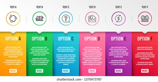 Usd exchange, Question mark and Copywriting notebook icons simple set. Recycle, Euro money and Gift signs. Currency rate, Help support. Business set. Infographic template. 6 steps timeline. Vector