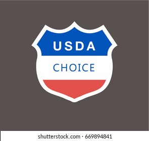 USDA emblem blue ,white and red colors Inside the shield with white border on gray background.Simple flat design.