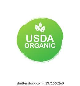 USDA organic emblems, badge, Sticker, logo, icon. Vector stock illustration.