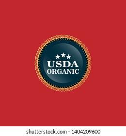 USDA Organic gold Badge. gold emblem,label.