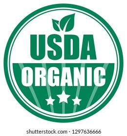 Usda organic green emblem illustration on white background