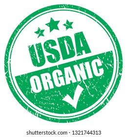 Usda organic grunge stamp on white background
